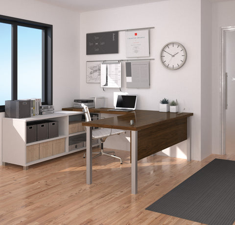 Premium Modern U-shaped Desk in White & Oak Barrel