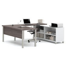 Load image into Gallery viewer, Premium Modern U-shaped Desk in White & Bark Gray