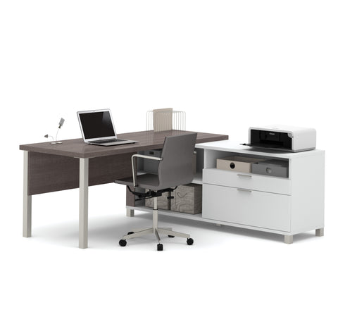 Premium Modern L-shaped Desk in Bark Gray & White