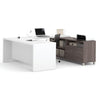 Premium Modern U-shaped Desk in White & Bark Gray