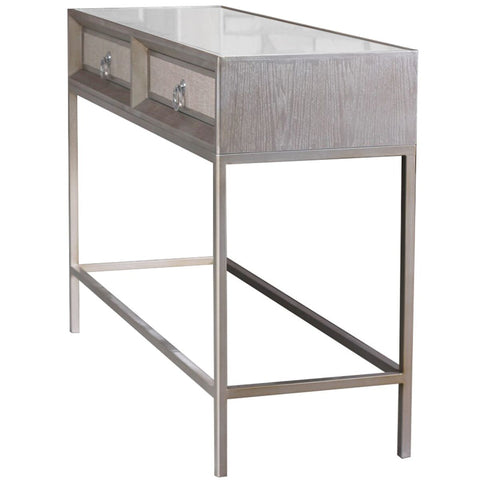 "45"" Mirror-Topped Modern Console Desk w/ Footrest"
