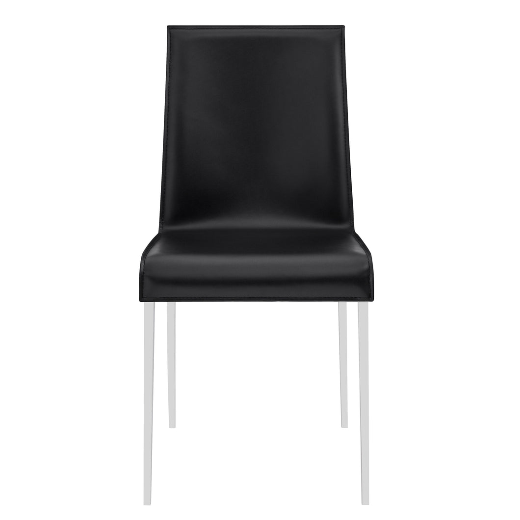 Premium Black Leather Conference or Guest Chairs with Steel Legs (Set of 2)