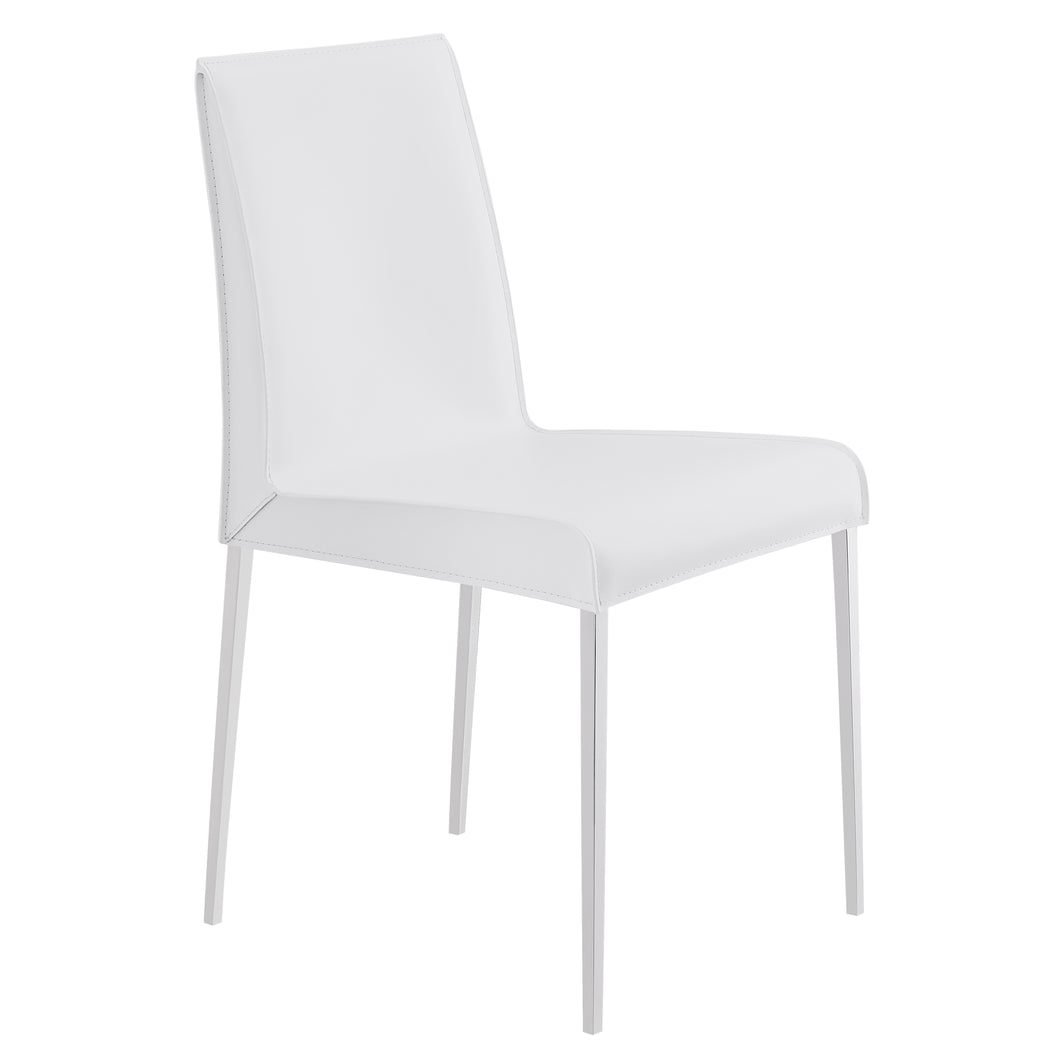 Premium White Leather Conference or Guest Chairs with Steel Legs (Set of 2)