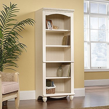 "72"" Cottage Style Bookcase in Antique White Finish"