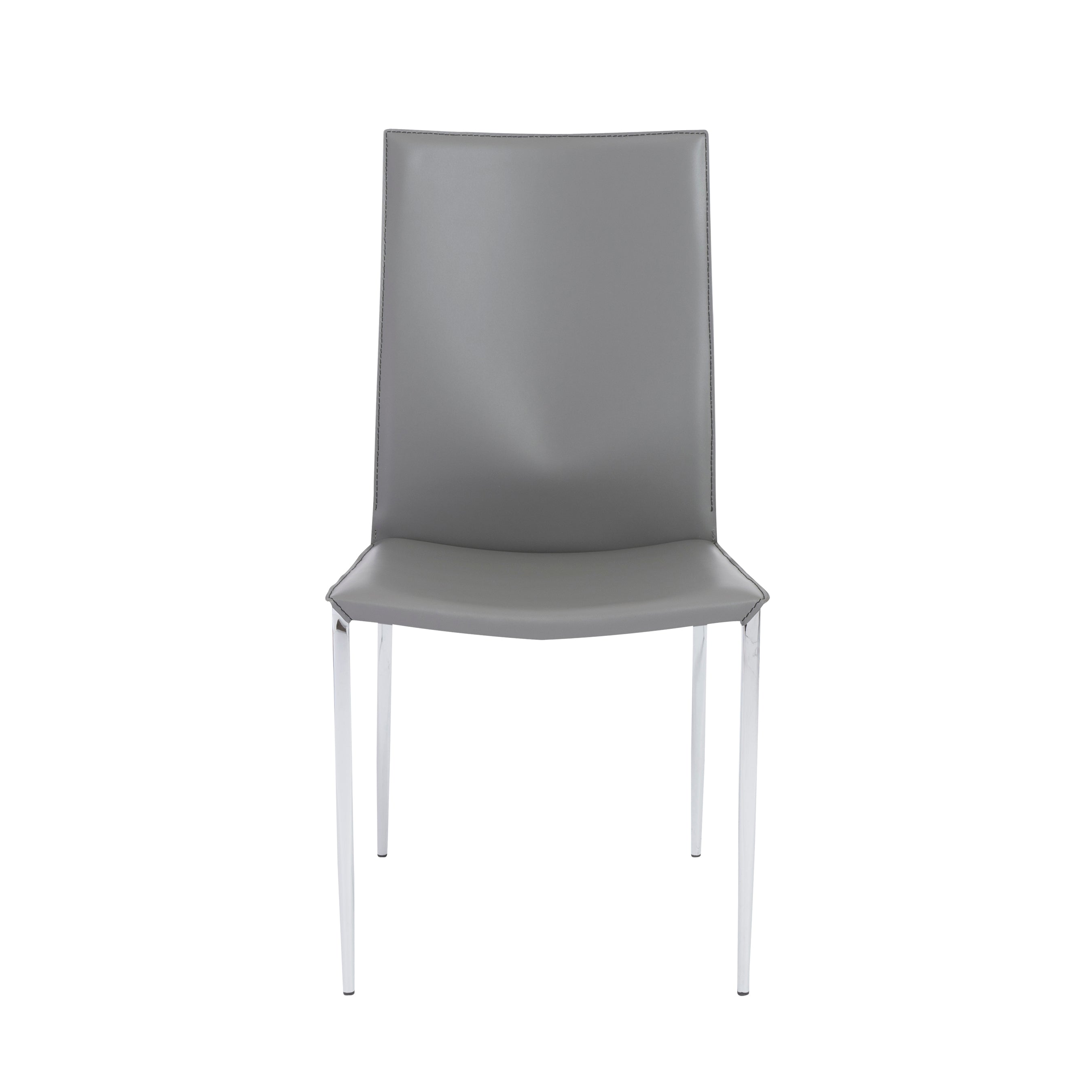 Tasteful Gray Leather Guest or Conference Chair (Set of 2)
