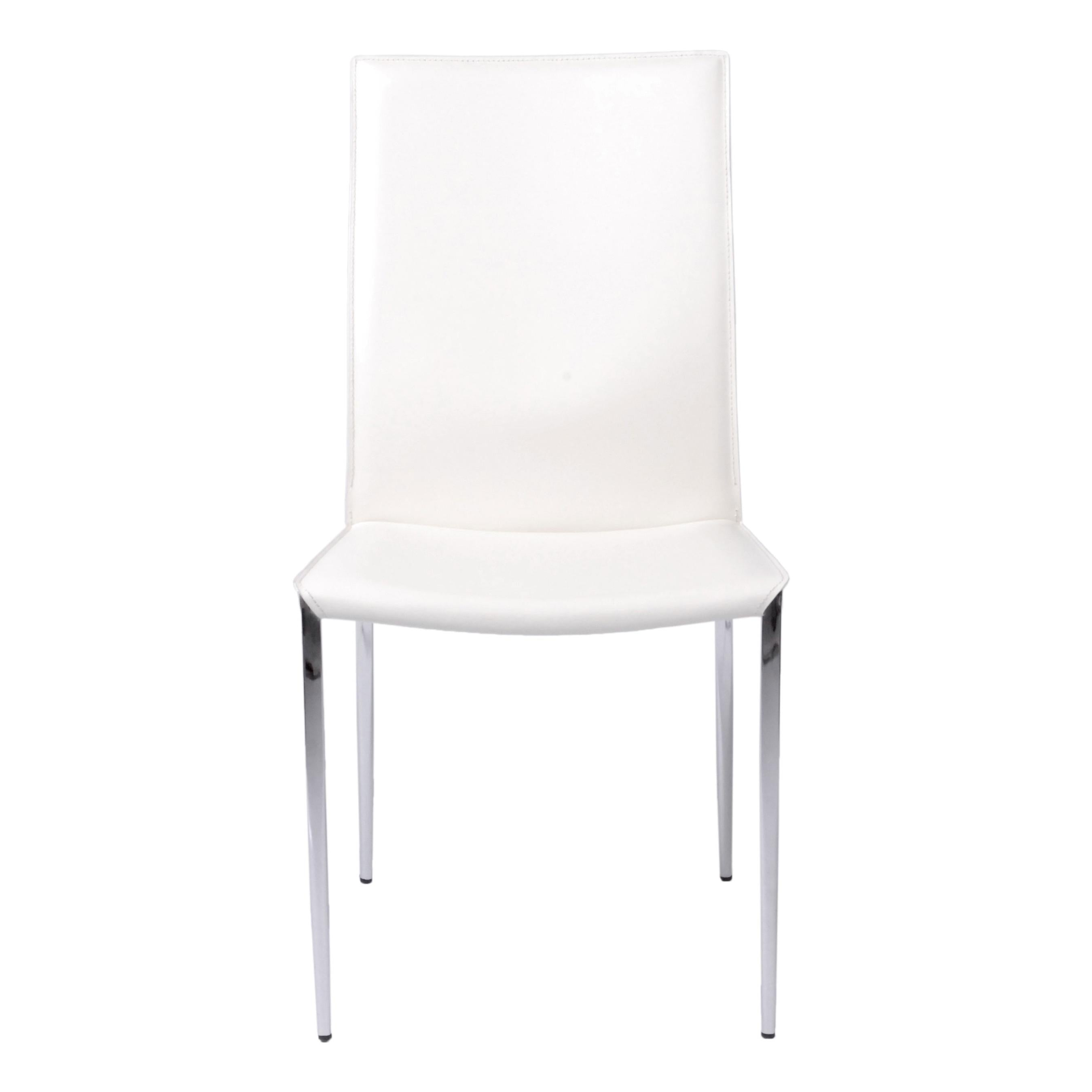 Tasteful White Leather Guest or Conference Chair (Set of 2)