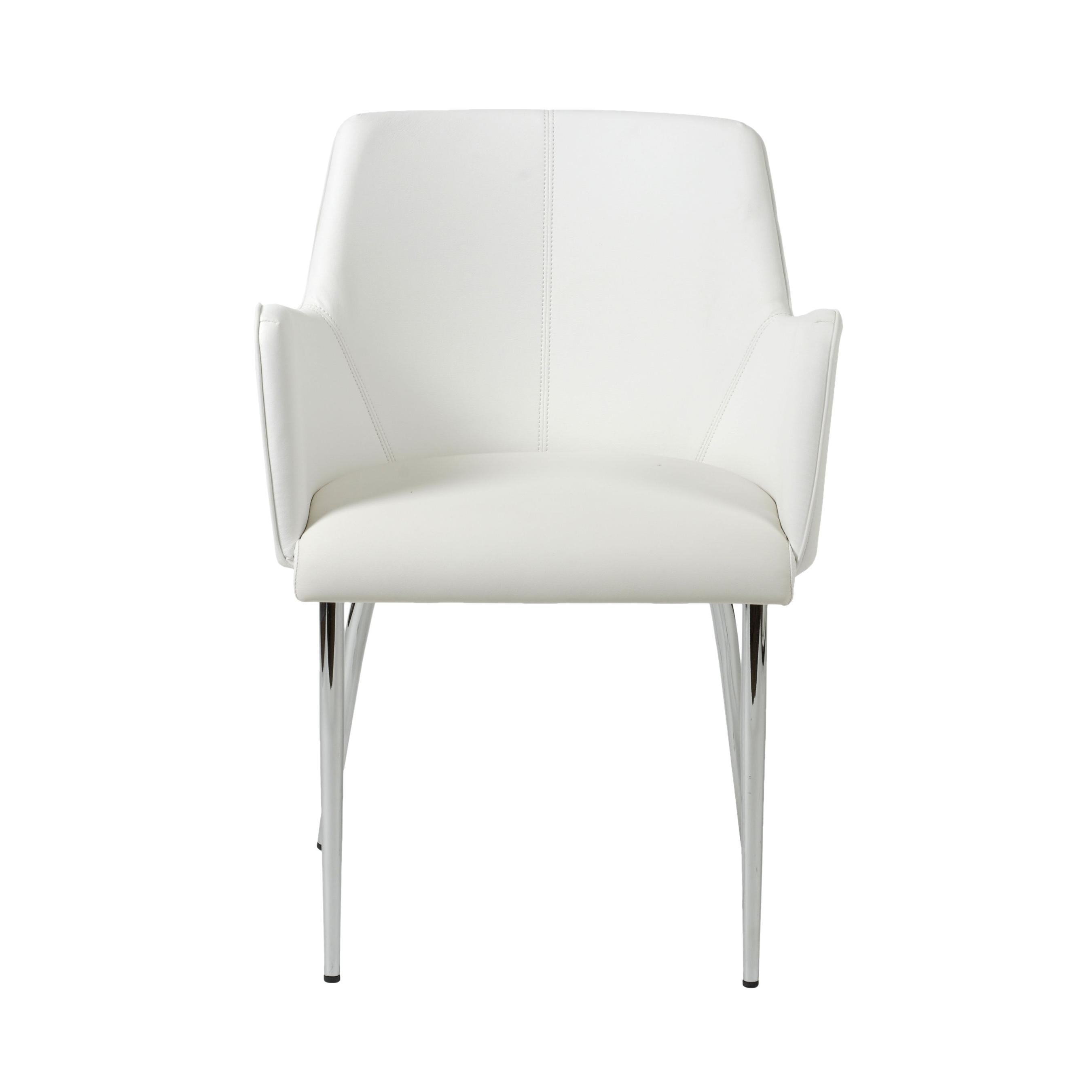 Comfortable White Leatherette Guest or Conference Armchair (Set of 2)