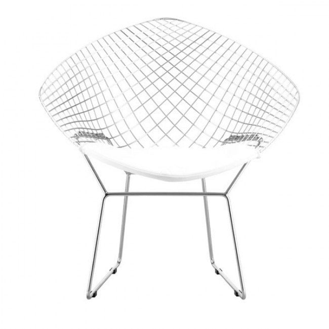 Elegant Guest or Conference Chair in Chrome Wire w/ White Cushion (Set of 2)