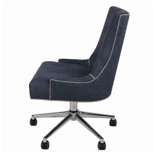 Fabric Rolling Office or Conference Chair in Denim Slate