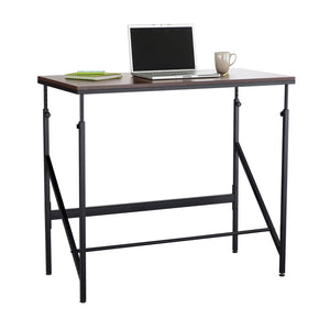 Walnut Standing desk with Adjustable Height and Footrest