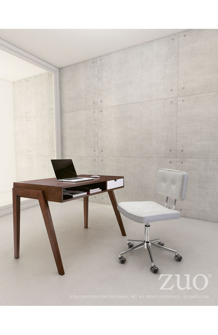 White Leather Low-Back Modern Office Chair