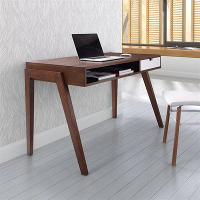 "Walnut & White Ultra Modern 46"" Office Desk"
