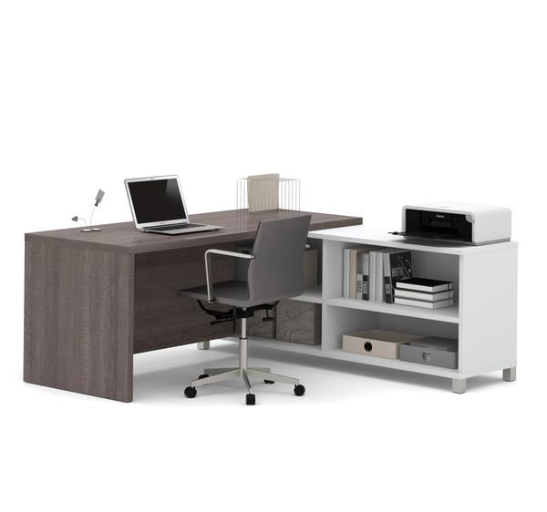 Magnificent Modern Bark Grey And White L Shaped Office Desk With Built In Shelves Download Free Architecture Designs Estepponolmadebymaigaardcom