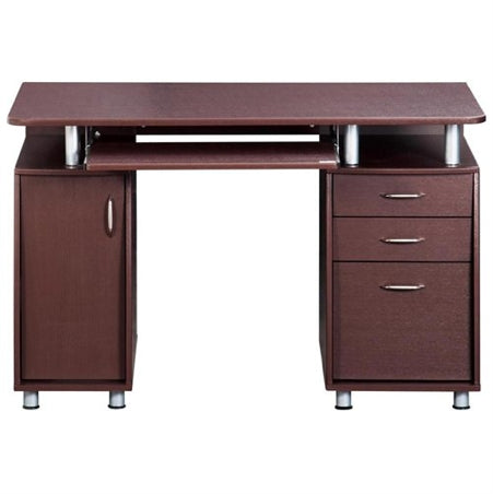 "Contemporary 48"" Desk with Drawers and CPU Cabinet"