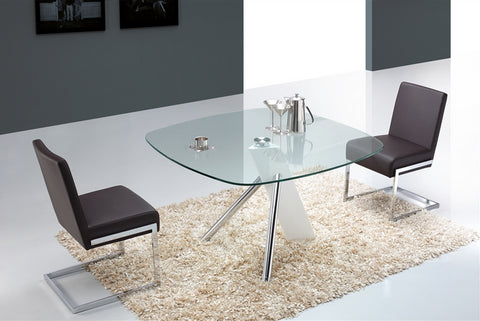 "Modern 47"" Meeting Table or Desk with Clear Glass Square Top & Elegant Base"