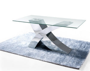 "Modern 86"" Chrome & Glass Executive Desk or Conference Table"