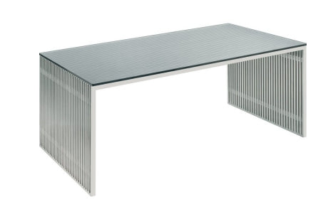 "64"" Modern Brushed Stainless Steel Executive Desk with Glass Top"