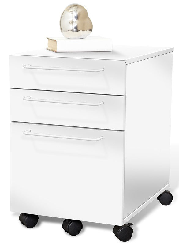 Modern Mobile File Cabinet in Espresso or White (Ships Assembled)