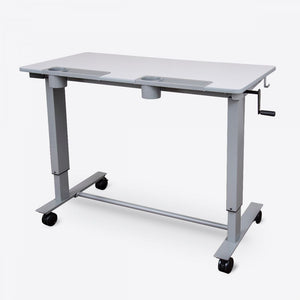 "Sit-Stand 48"" Gray Office Desk w/ Castors and Crank"