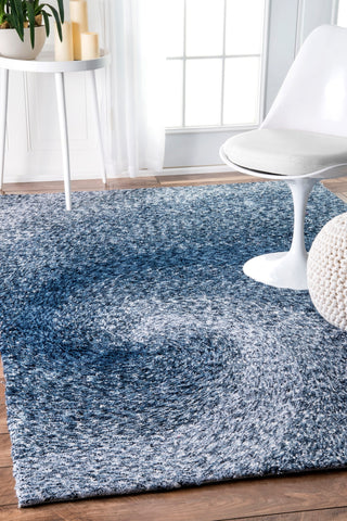 Polyester Office Rug in Swirl of Blue Shades (Multiple Sizes Available)