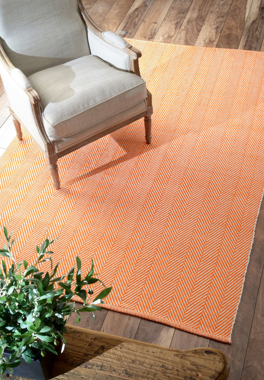 Classic Orange Office Floor Rug w/ Soft Textured Pattern (Multiple Sizes)