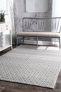 Hand-Loomed Cotton Indoor Office Rug in Gray (Multiple Dimensions)