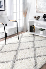 Load image into Gallery viewer, White & Grey Office Rug w/ Crisscross Design (Multiple Sizes)