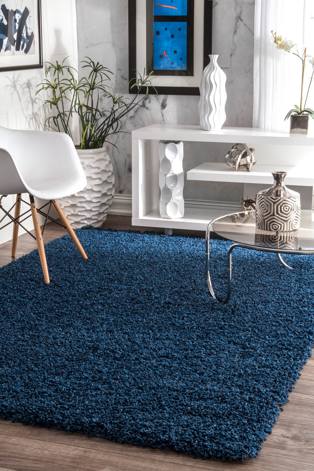 Comforting Office Rug in Blue Plush Shag