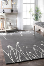 Load image into Gallery viewer, Plant-Like Design on Gorgeous Grey & Ivory Office Rug (Multiple Sizes)