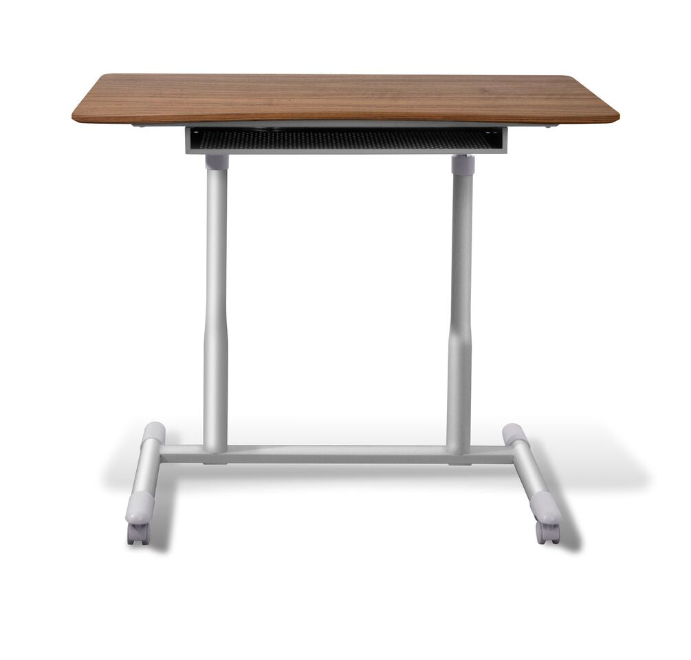 "Durable Walnut 37"" Sit-Stand Office Desk"