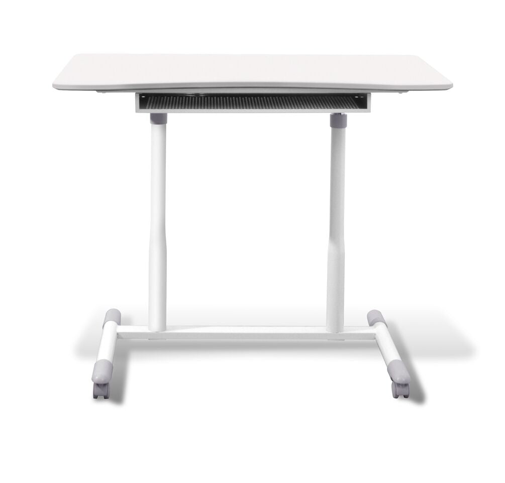 "Durable White 37"" Sit-Stand Office Desk"