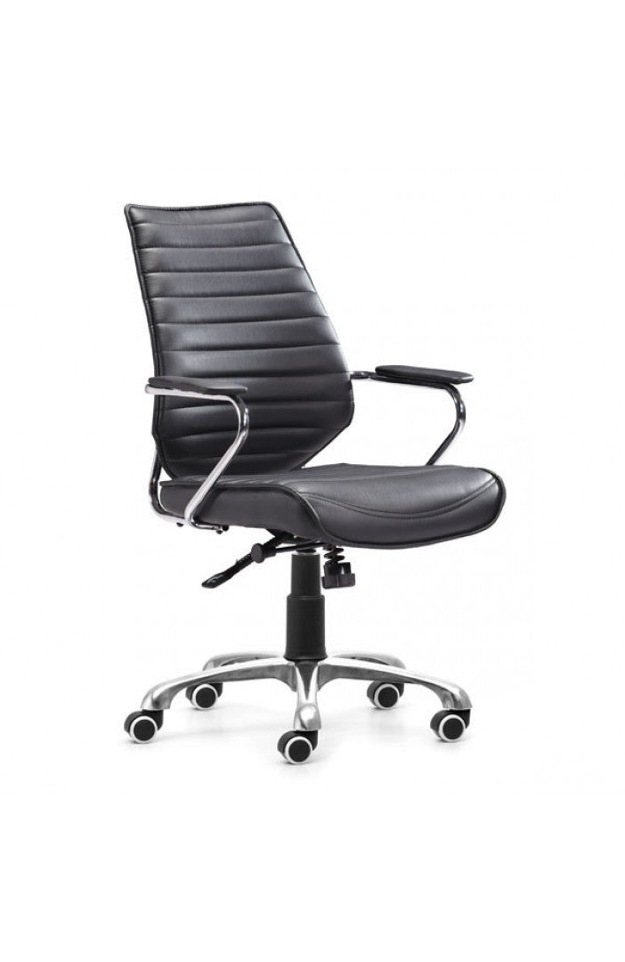 Elegant Black Leather & Chrome Mid-Back Chair