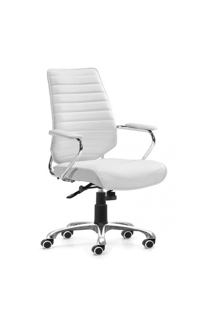 Elegant White Leather & Chrome Mid-Back Chair