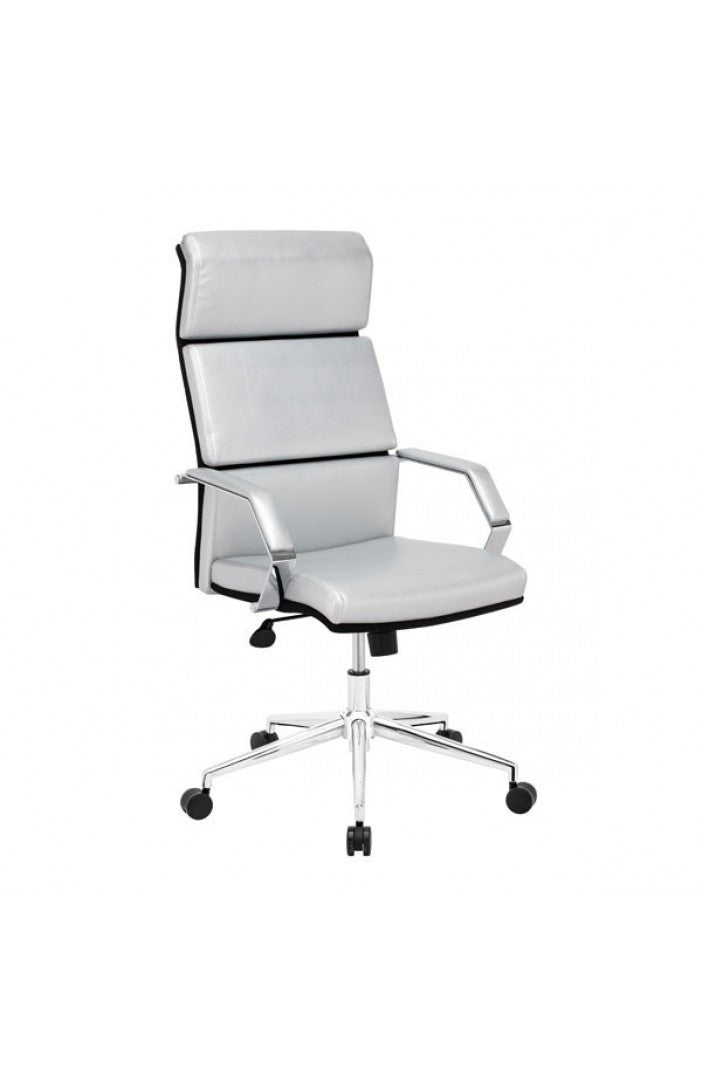 Sleek Silver Leather & Chrome Office Chair