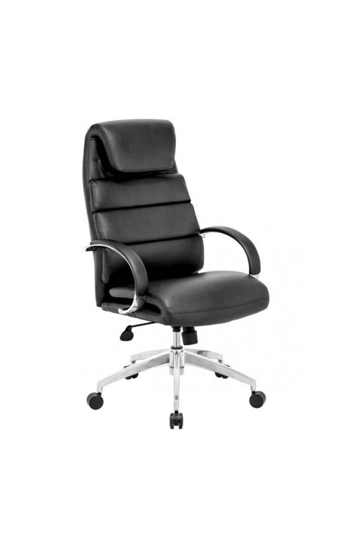Primo Black Leather & Chrome Office Chair with Extra Padding