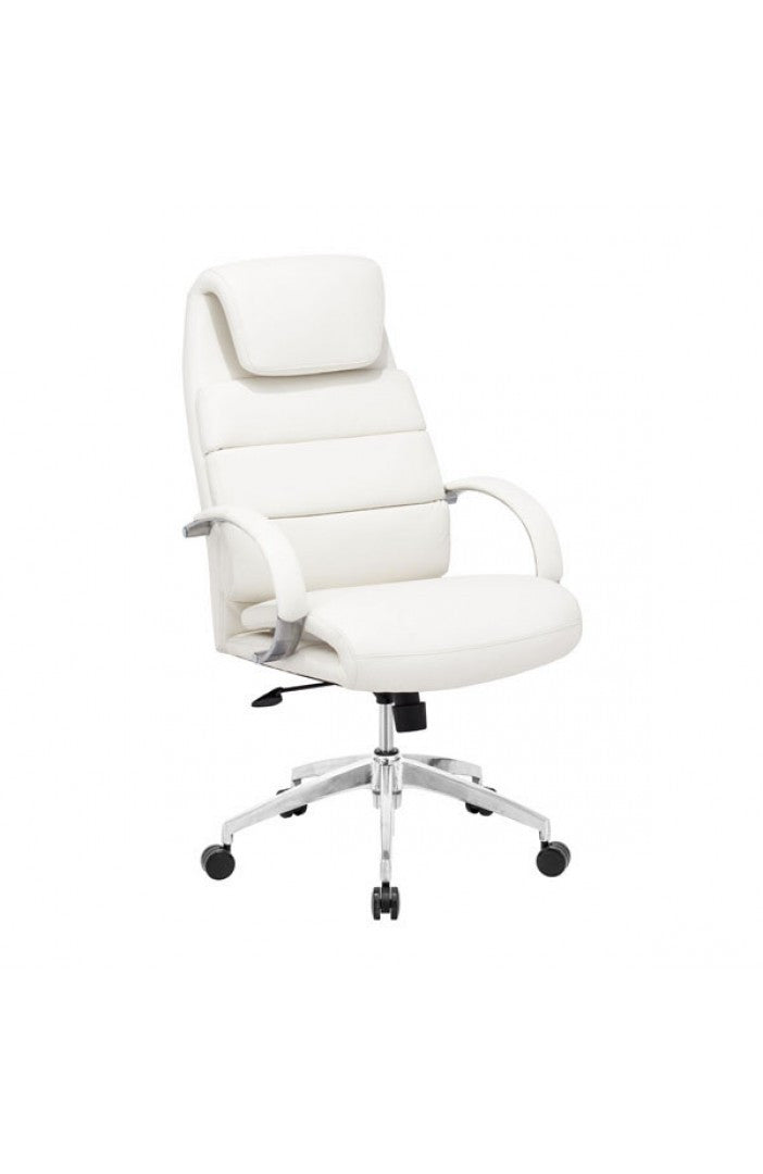 Primo White Leather & Chrome Office Chair with Extra Padding