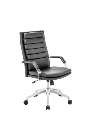 Black Leather & Chrome Modern Office Chair