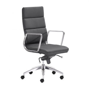 Classic High-Back Office Chair in Black Leatherette and Chrome