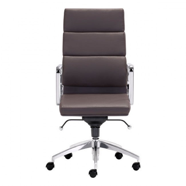 Classic High-Back Office Chair in Espresso Leatherette and Chrome