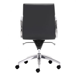Classic Low-Back Office Chair in Black Leatherette and Chrome