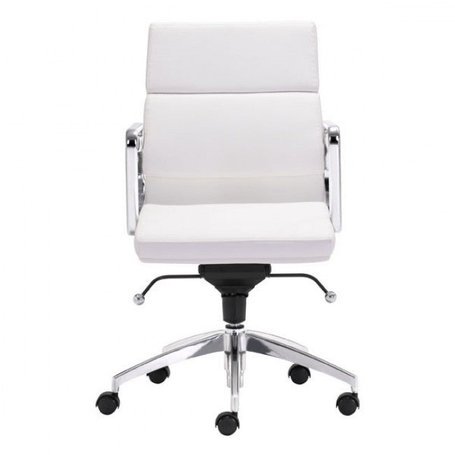 Classic Low-Back Office Chair in White Leatherette and Chrome