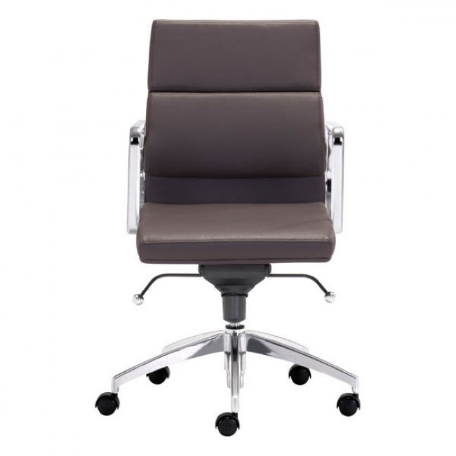 Classic Low-Back Office Chair in Espresso Leatherette and Chrome