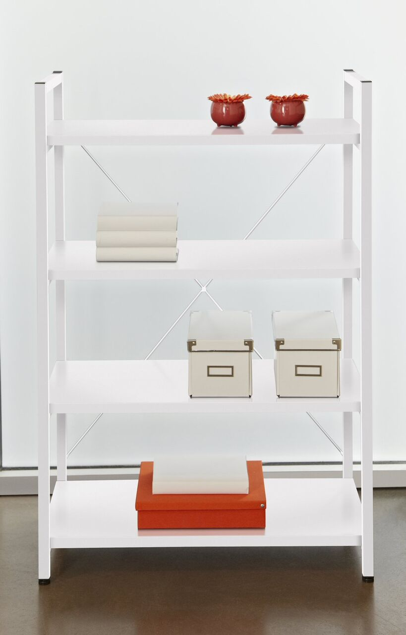 Eye-Catching X-Frame Bookcase w/ White Finish
