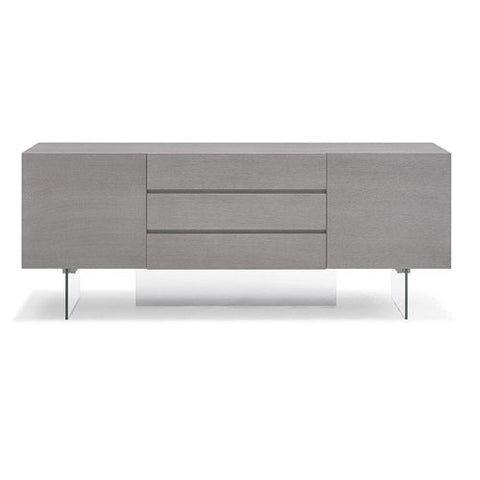 "Stunning 79"" Storage Credenza with Drawers and Glass Base"