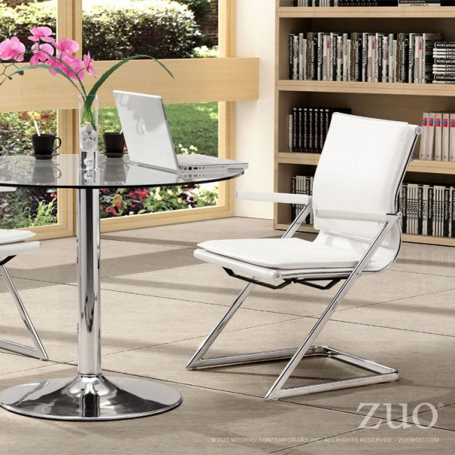 Ergonomic Guest or Conference Chair in White Neoprene and Steel (Set of 2)