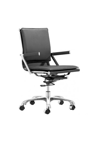 Black Leather & Chrome Modern Office or Conference Chair