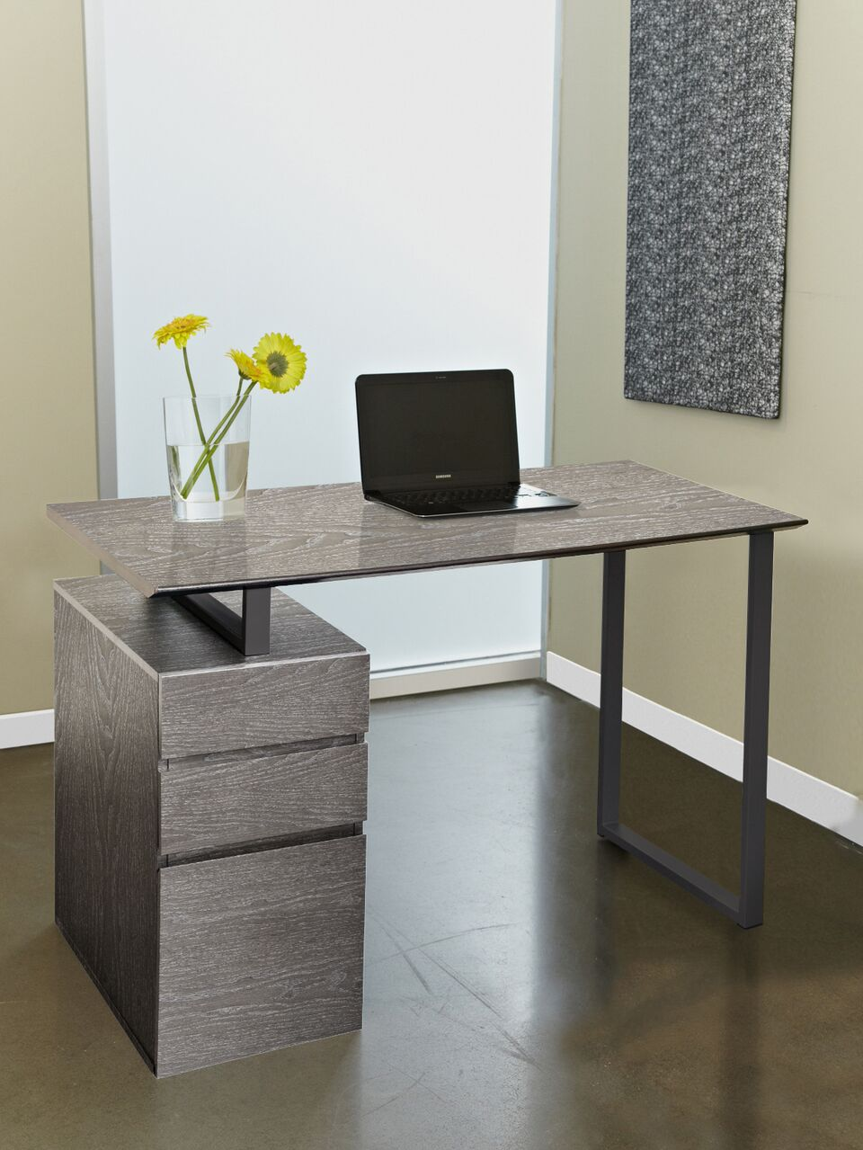 "Contemporary 48"" Desk and Drawers in Grey"