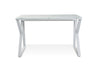 "47"" White Glass Writing Desk with Steel Base"