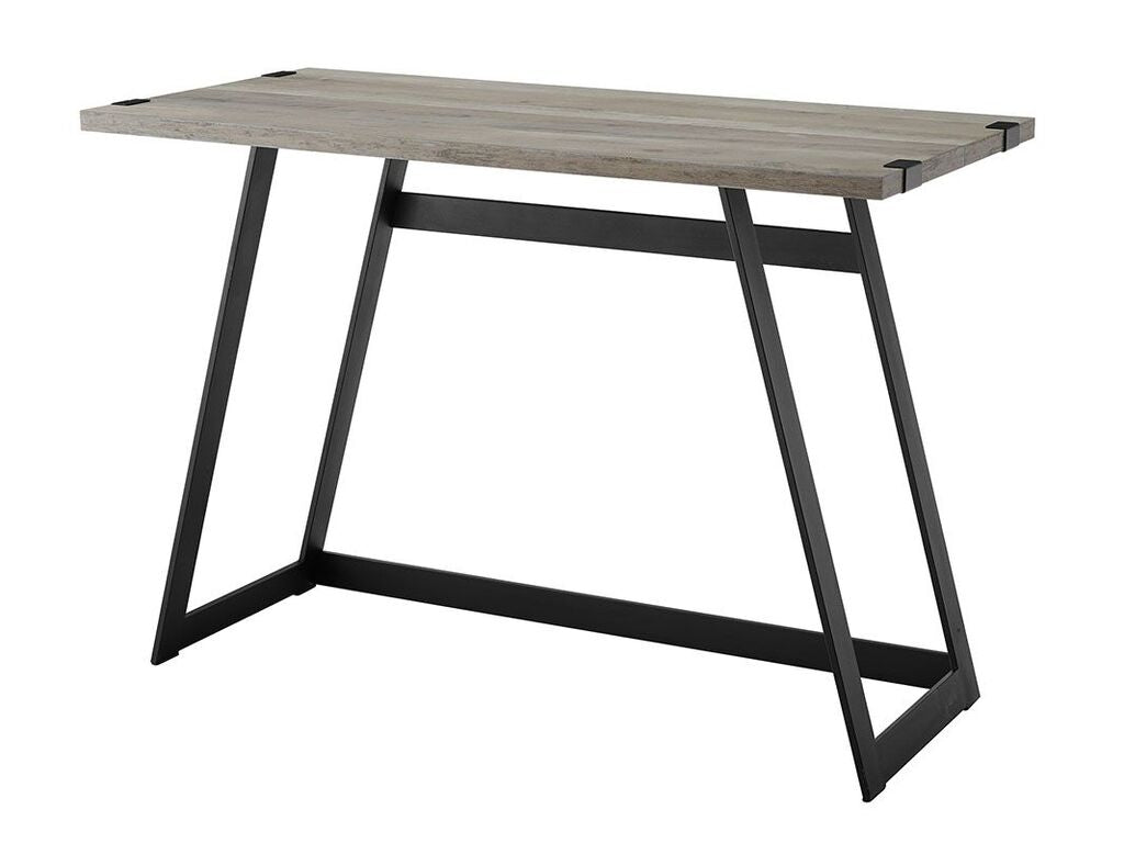 "Gray Wash & Metal 42"" Office Desk w/ Geometric Design"