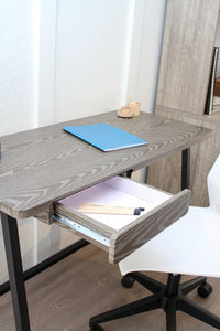 Classic 1-Drawer Grey Minimalist Desk